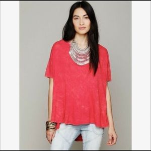 Free People High Low Tee XS Red Acid Wash